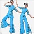 Chinese Folk Dance Top y Pantalones de Las Mujeres de Las Señoras Trajes Traje Tradicional Chino Danza Nacional Chino Antiguo rojo, azul
