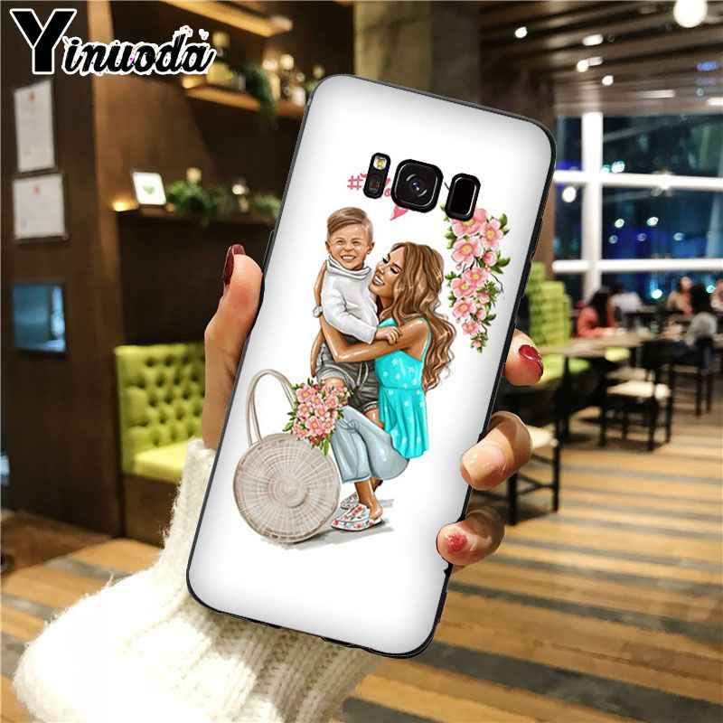 Yinuoda black girl Queen Mom and baby Top Detailed Popular Cell Phone Case For GALAXY s5 s6 edge edge plus s7 edge s8 plus s9