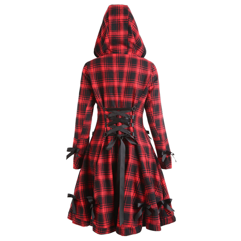 Autumn Winter Gothic Trench Coat Vintage Red Black Plaid Plus Size Back Bandage Overcoat Hooded Long Goth Single Breasted Coats