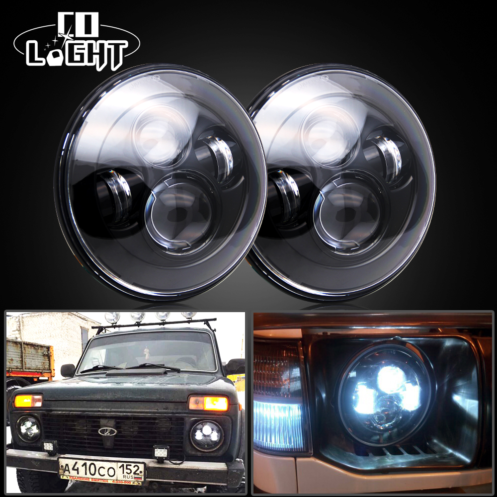 CO LIGHT 7 Round Led Headlights Cree Chips High & Low 6000K Daytime Running Lights for Jeep Wrangler JK TJ Lada Niva Auto Cars