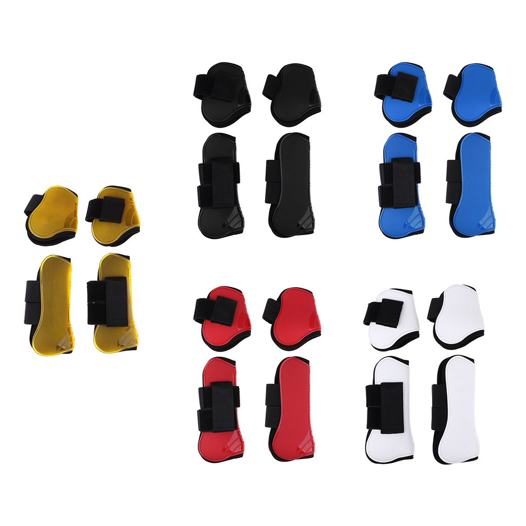 2 Pairs Horse Leg Boots Front Hind Leg Tendon Protect Equestrian Red