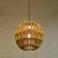 Nordic твердой древесины мяч подвесные светильники один головок деревянный шар бар столовая светильник подвесной светильник za925531