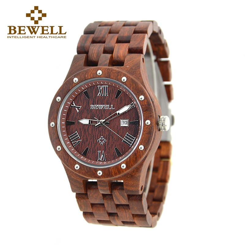 BEWELL 109A Luxury Men s Wooden Watch Analog Quartz Handmade Casual Watches with Unique Designed Natural