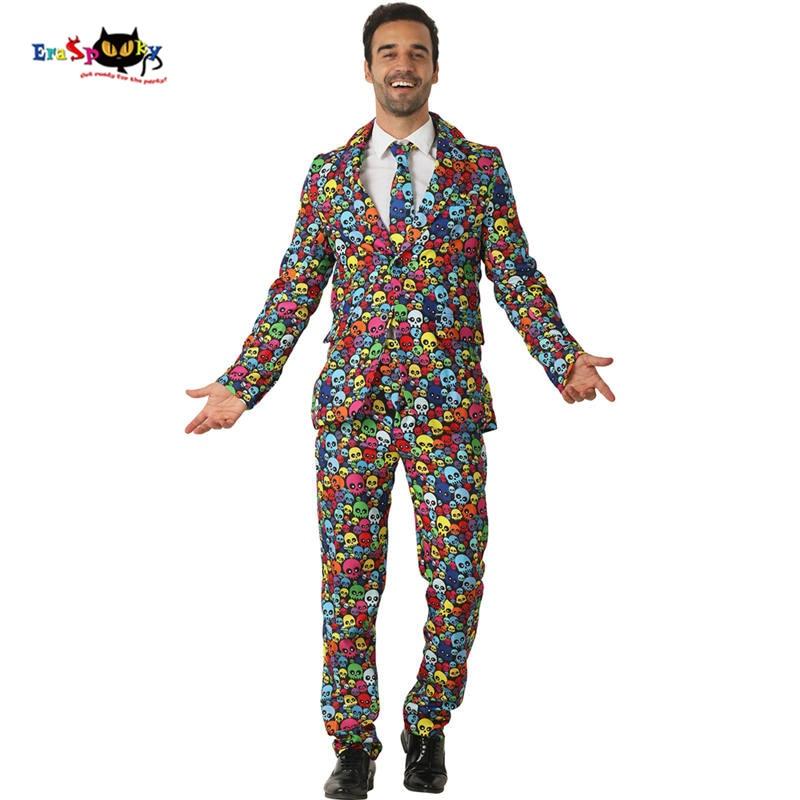 Eraspooky Multicolor Skeleton Print Blazer For Men Halloween Costume Adults Slim fit skeleton cosplay carnival party suits tie