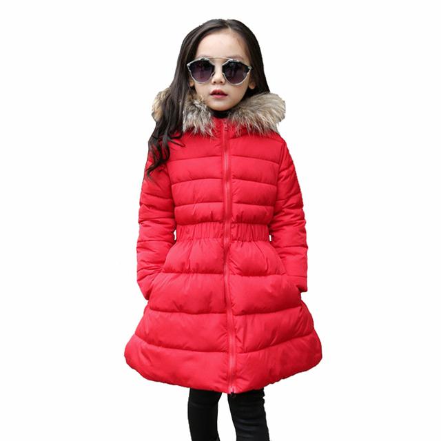 2016 Crianças Meninas de Inverno Gola De Pele Com Capuz Outerwear Snowsuit Roupas de Natal Roupas Crianças Para Baixo Parkas Casacos Casacos Quentes