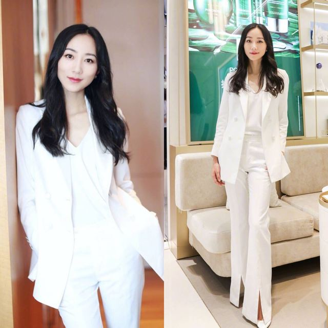 Han Xue Stars In The Same Korean Version White Ol Professional Suit Women Suit Fork Lift Bell Bottoms Two Sets New Fashion White