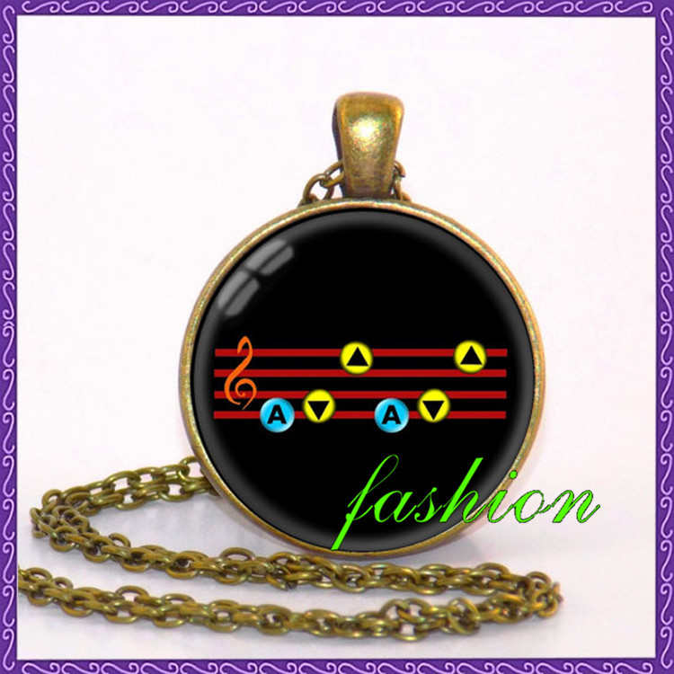 The Legend of Zelda Necklace, Ocarina of time Pendant Song of Storm Jewelry accessories for women photo necklace charms pendants