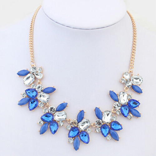 Party Bright Crystal Drop Resin Flower Statement Choker Bib Necklace for Summer long font b dress