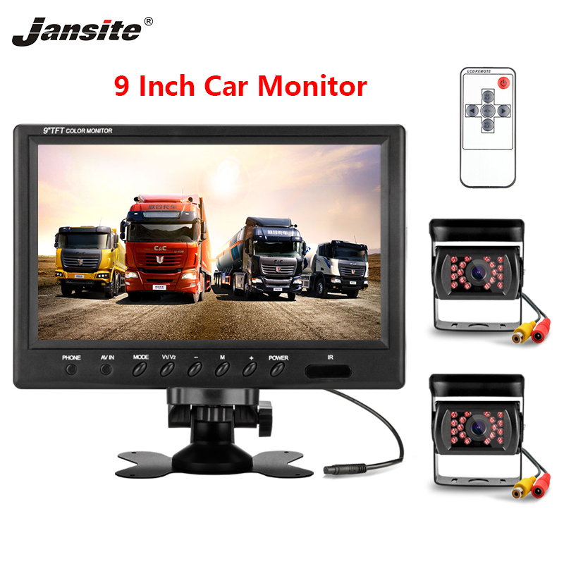 Jansite 9 inch Car Monitor HD Display 2 video input IP67 Waterproof Backup cam Image Flip 12 24V Truck Crane Parking assistance-in Car Monitors from Automobiles & Motorcycles    1