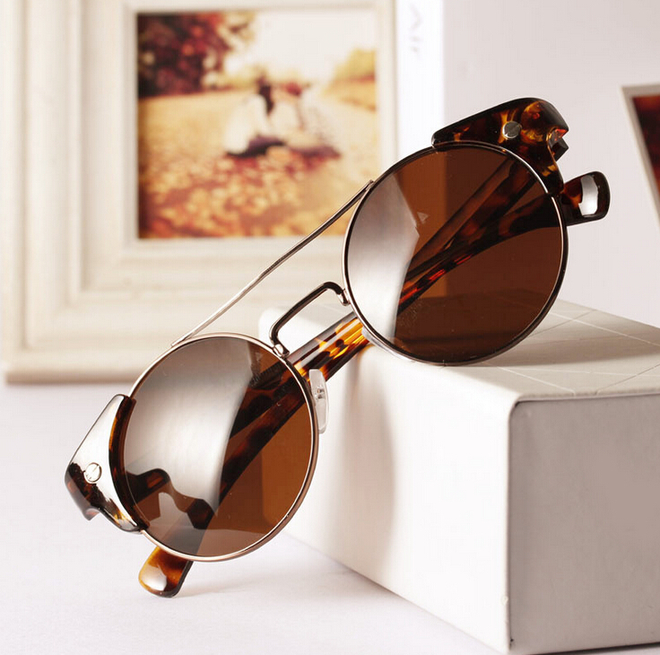 Free Shipping Women men Round Half Rim Retro Vintage Sunglasses Brand designer glasses gafas GL-5228