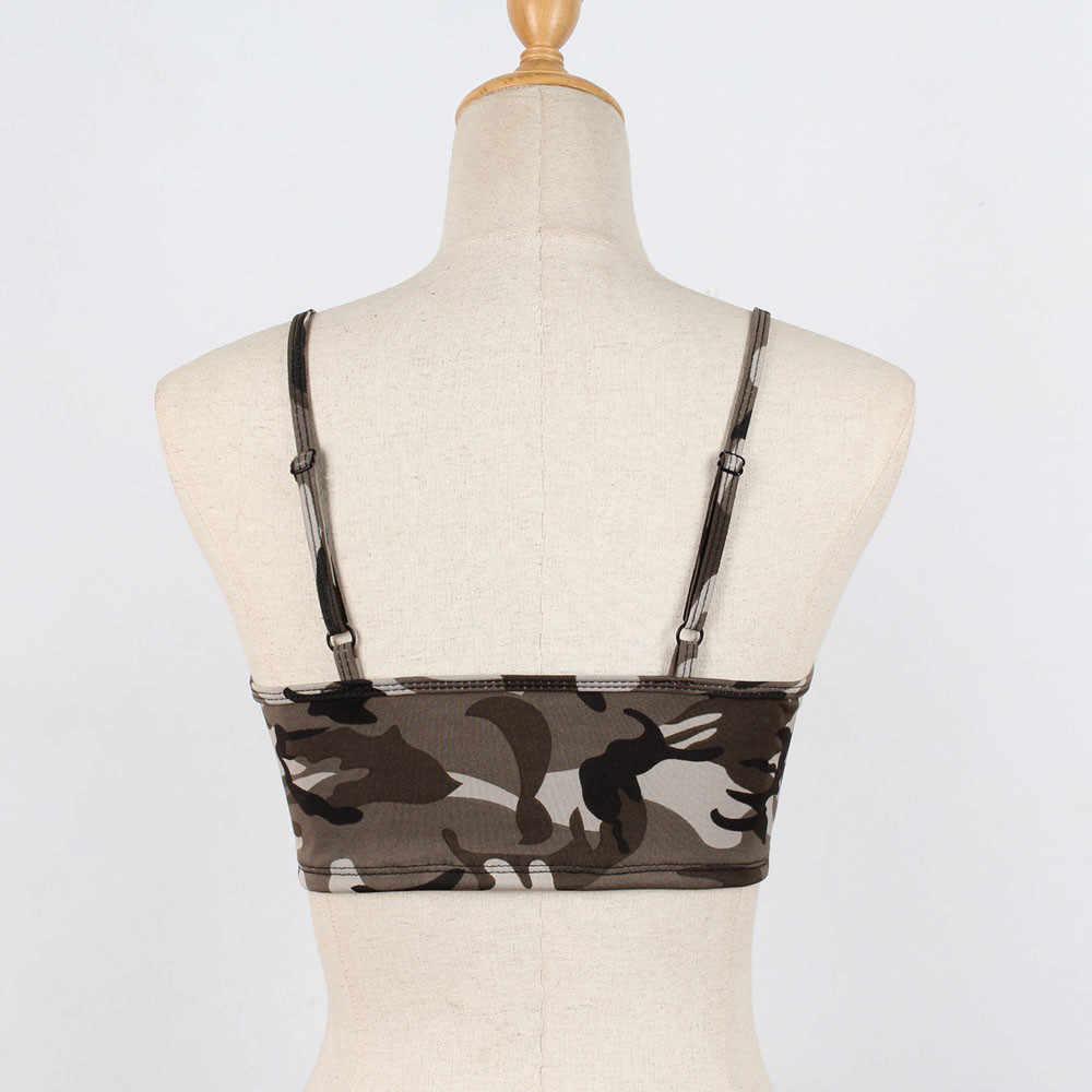 セクシーな女性の迷彩タンクトップファッション女性ベストノースリーブレディースキャミソール作物タンクトップ Feminino スリム夏の女性の服
