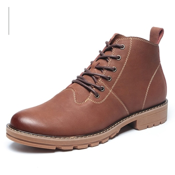 Nice Great Nice Retro Big Size 28-77 Brown Black Leather Boots Lace-up Handmade Waterproof Russian Style Winter Men Shoes