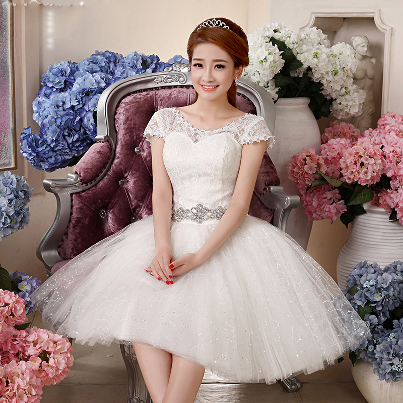 Simple Vintage Wedding Dresses: Simple But Vintage Short Wedding Dress 2017 With Crystal
