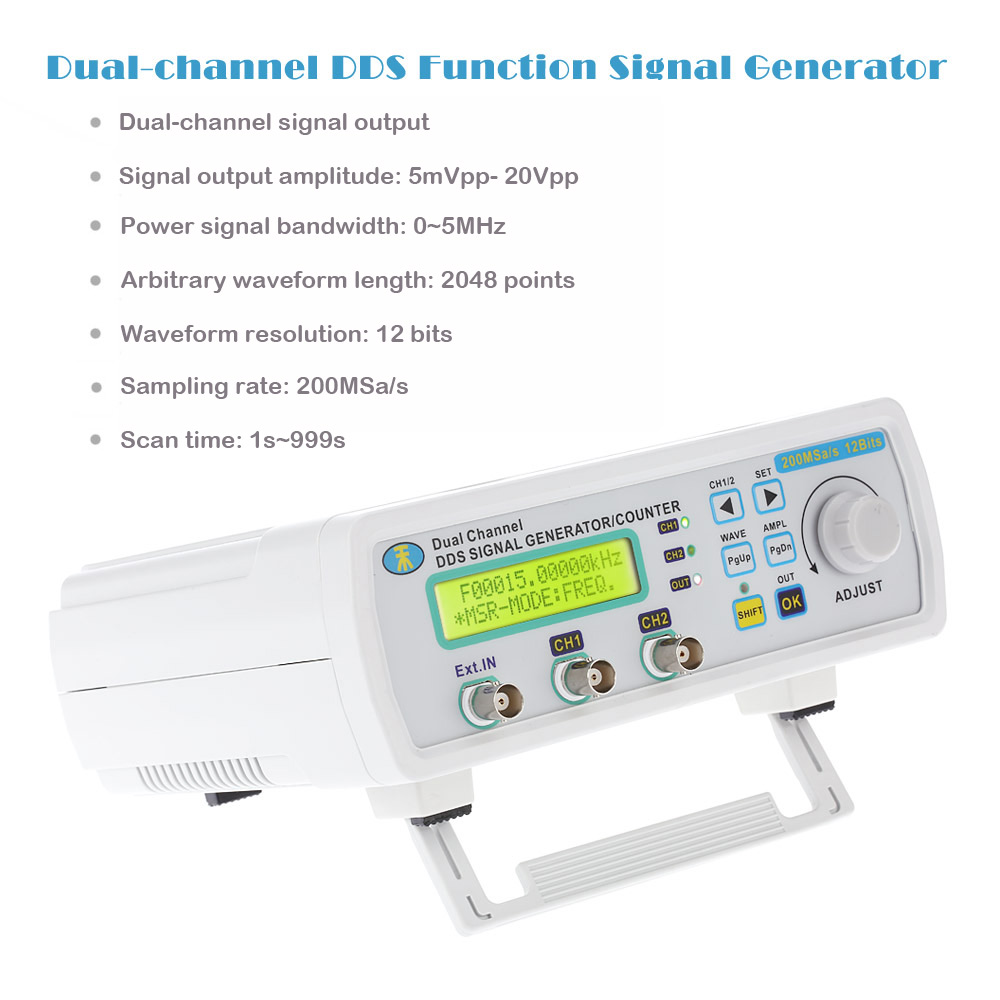 High Precision Digital DDS Signal Generator Arbitrary Waveform Frequency Meter 0-5MHz Power Signal Bandwidth 200MSa/s 6MHz mhs 5212p power high precision digital dual channel dds signal generator arbitrary waveform generator 6mhz amplifier 80khz