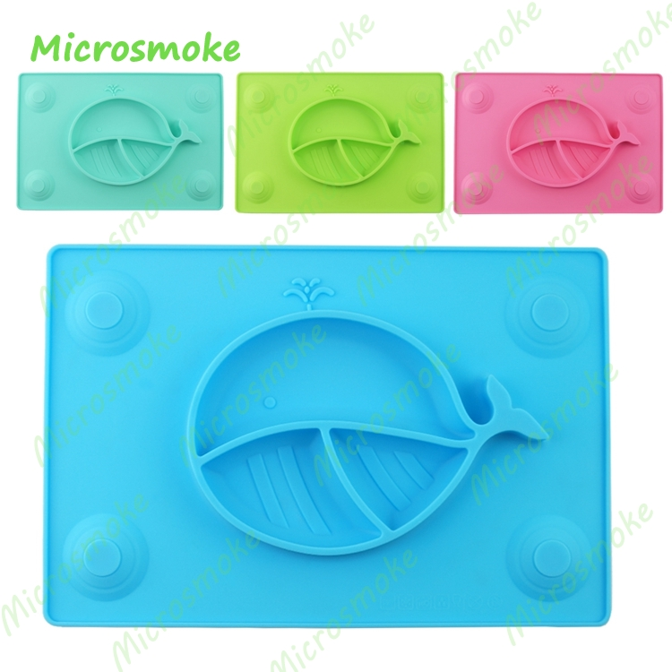 1 Piece Waterproof Silicone Placemat With 4 Suction Cup