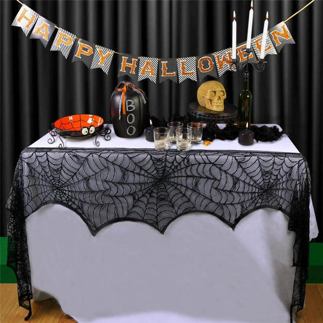 Halloween Party Supplies Fireplace Mantel Scarf Cover 45x243cm Black Lace Spider  Web Table Cloth