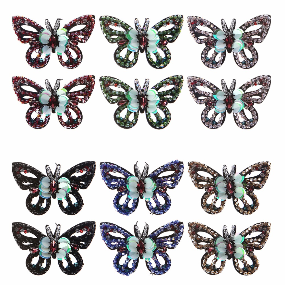 EYKOSI 2Pcs Butterfly Beads Patches Applique Embroidered Clothes Shoes Clips Decoration New Shoe Decorations schleich фигурка дракон ночной охотник