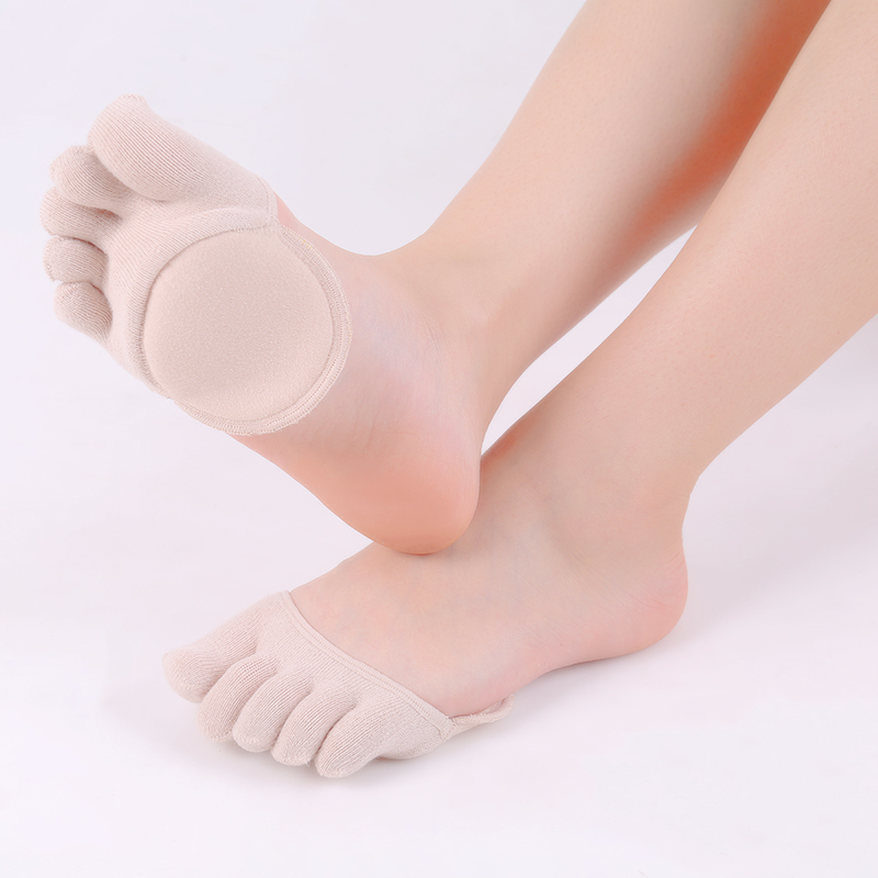 Women Socks Sponge Silicone Anti-slip Lining Open Toe Heelless Liner Sock Invisible Forefoot Cushion Foot Pad Hosiery