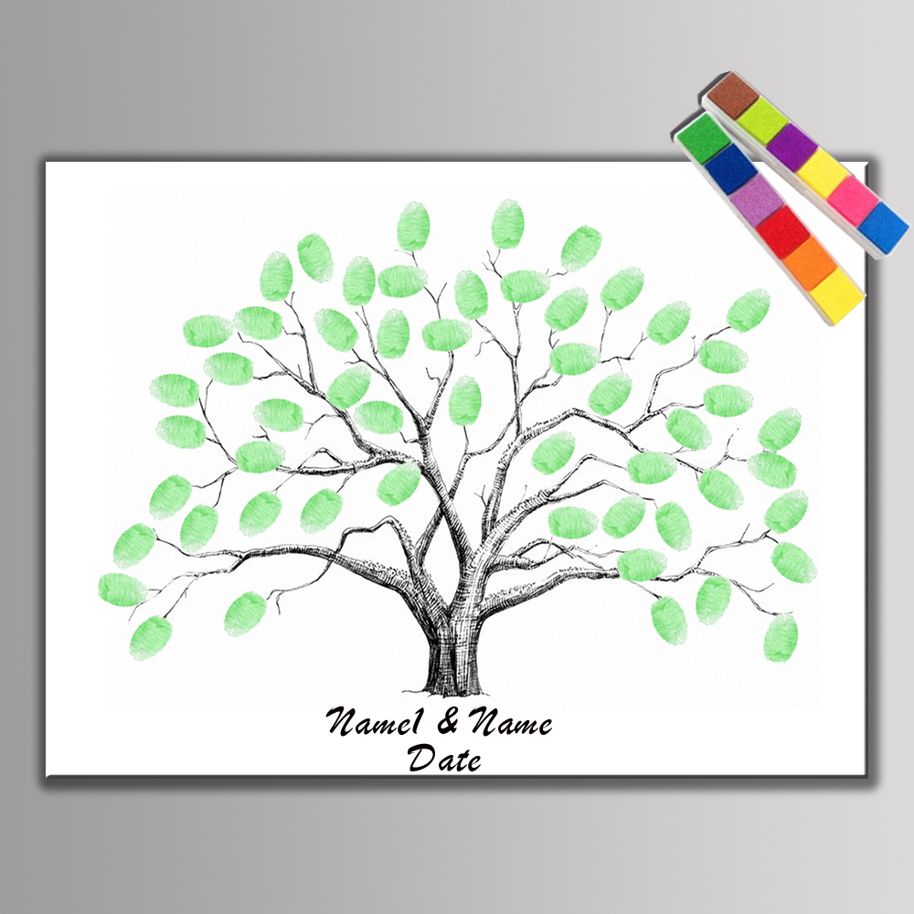Hot Canvas Wedding Tree Fingerprint Guest Book Wedding
