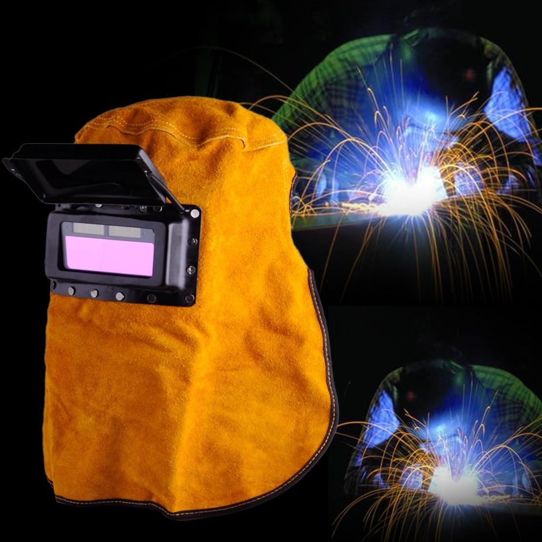 цена на LETAOSK New Portable Leather Hood Welding Helmet Mask Solar Auto Darkening Filter Lens Welder