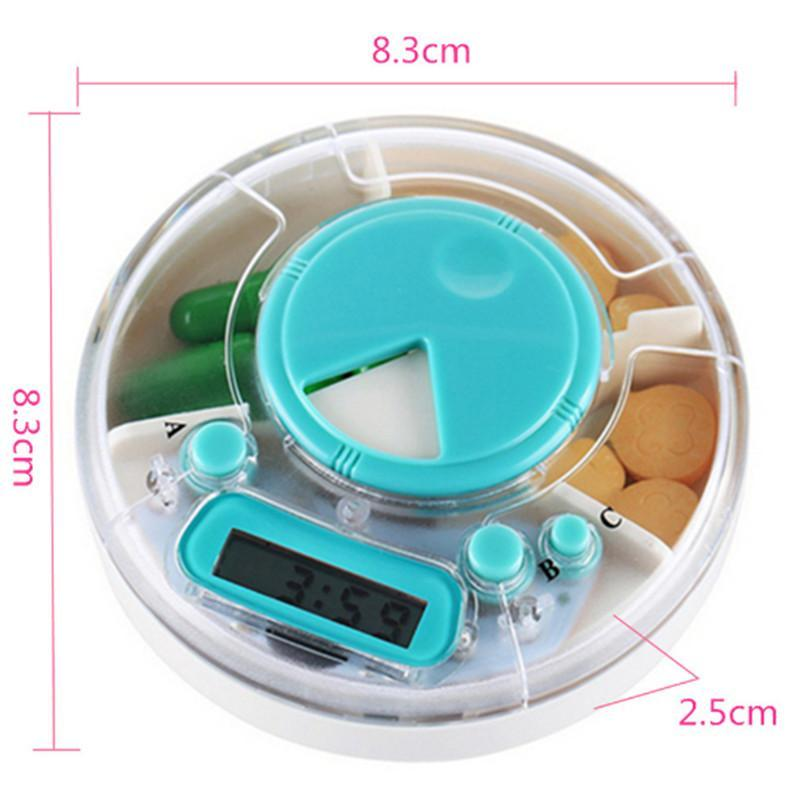 1 pc Pill Box Outdoor Travel Pillbox Portable Weekly Rotating Pill Case Medicine Pill Dispenser Vitamin Holder Timer Reminder R3