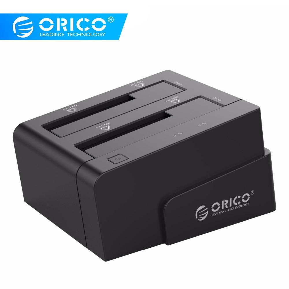 ORICO Station d'accueil 2.5 3.5 double baie USB 3.0 à SATA HDD boîtier ssd disque dur outil gratuit duplicateur 16 to pour Windows Mac OSX9.1