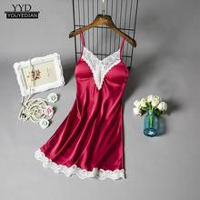 Satin Sleepwear Women Ladies Nightwear Nightdress Sexy Lingerie with Chest Pads night dress nighty for ladies