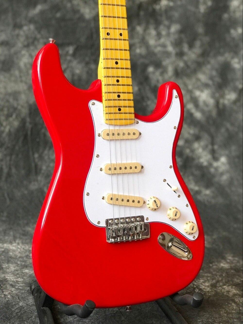 Guitare électrique ST personnalisée, travail manuel 6 cordes touche érable guitarra, couleur rouge stratocastre gitaar. vraies photos