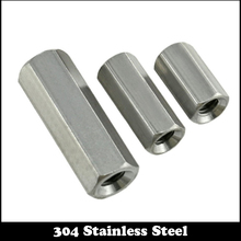 3pcs M6 M6*10*20 M6x10x20 (ID*OD*L) 304 Stainless Steel 304SS Extended ROD Connector Coupling Hexagon Hex Thick Nut