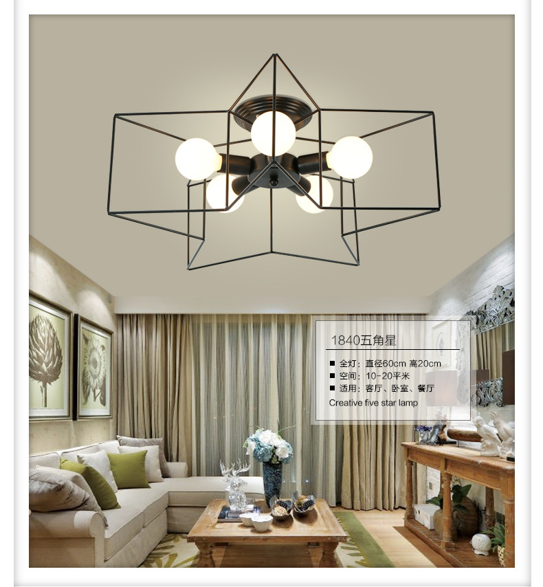 Modern Star Ceiling Lights E27 Led Ceiling Lamp Living Room Bedroom ...
