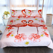 3d Printed Flamingo Flower Bedding Set Queen King Home Wedding Comforter Sets White Bed Cover Pillowcases Textiles