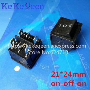 100CS/LOT KCD5 21X24mm 21*24 6 Pin 3 Position 6A/12A 250VAC ON-OFF-ON SPDT Snap in Black Boat Rocker Switch
