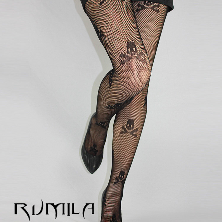 Fashion Womens Lady Girls Black Sexy Fishnet Pattern Jacquard Stockings Pantyhose Tights skull Woman 1pcs dww34