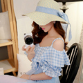 Dabuwawa open shoulder v neck blue plaid blouse