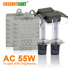 CNSUNNYLIGHT 1s быстро яркие 55 Вт ксеноновые HID H7 H4 H11 Супер фары 3000 К 4300 К 6000 к 8000 к H1 9005 9006 880 H3 Противотуманные авто лампы