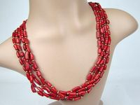 1135 Real Coral Beads Necklace 5 Layers Gold&Red