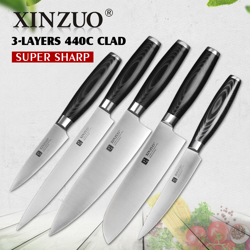 Xinzuo 5pcs Kitchen Knife Set Hot Paring Utility Cleaver