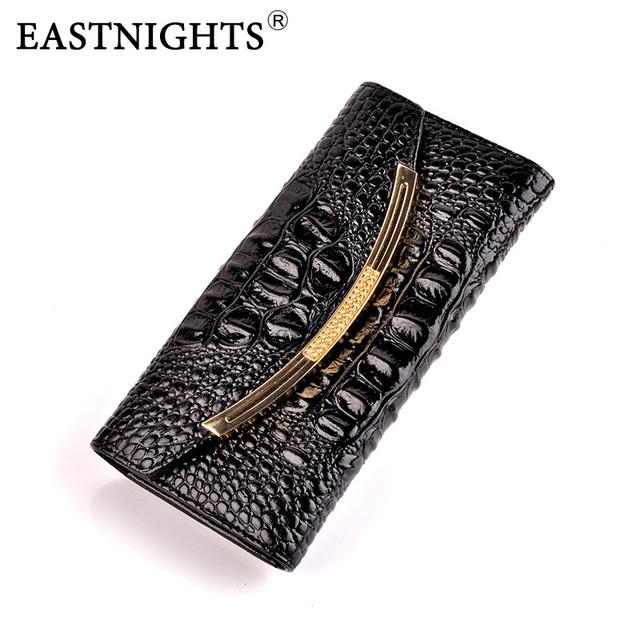 Eastnights 2017 novas mulheres de alta qualidade carteiras de crocodilo padrão de couro de vaca genuína carteiras bolsa embreagens tw2624-1