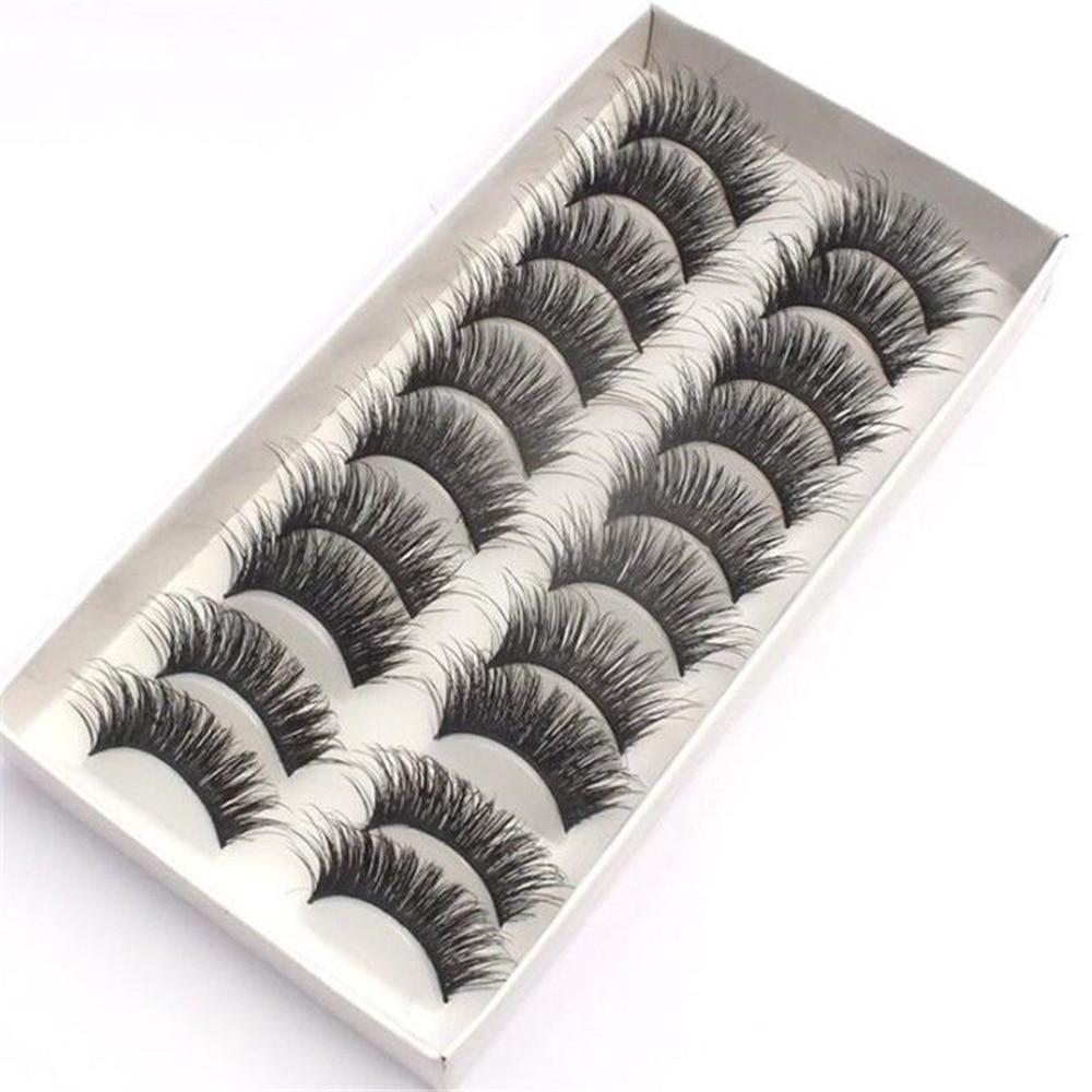 10pairs Natural 3D Luxury Hand Made Mink Eyelashes Medium Mink False Eyelashes