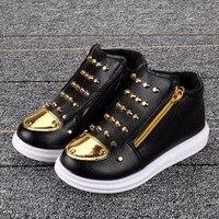 Chaussures mixtes fourrés plaque zip et clous