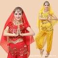 Свободный Размер Костюмы для Танца Живота 4 Шт. Топ & Брюки и талии Цепочку и Глава Топ Костюм Индийский Танец Индийский одежда