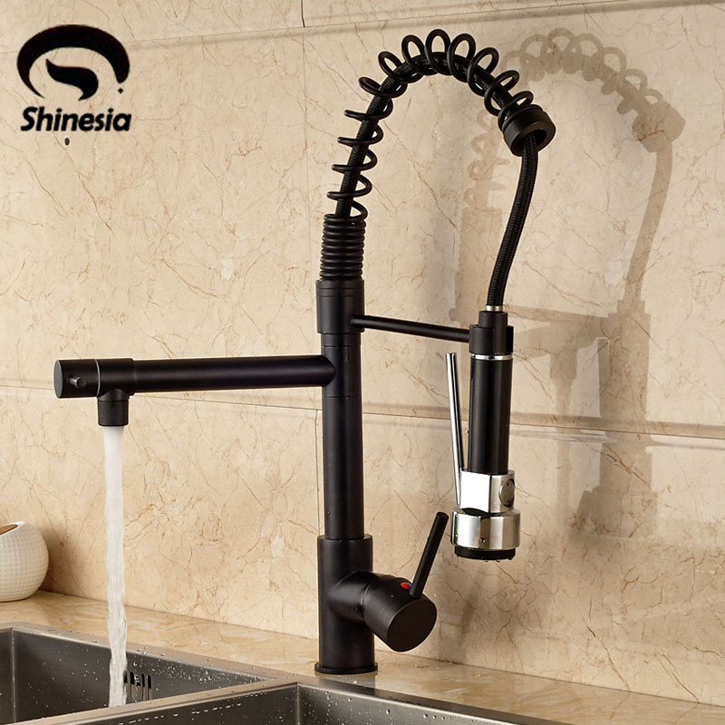 Luxury Solid Brass Pull Down Spray Kitchen Faucet Mixer Tap 360 Degree Ratate Faucet Oil Rubbed Bronze everso solid brass kitchen faucet double spouts 360 degree