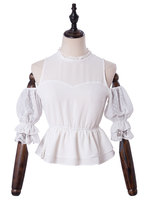Classic Lolita White Blouses Cold Shoulder Half Sleeves Lolita Top With Ruffles and Peplum