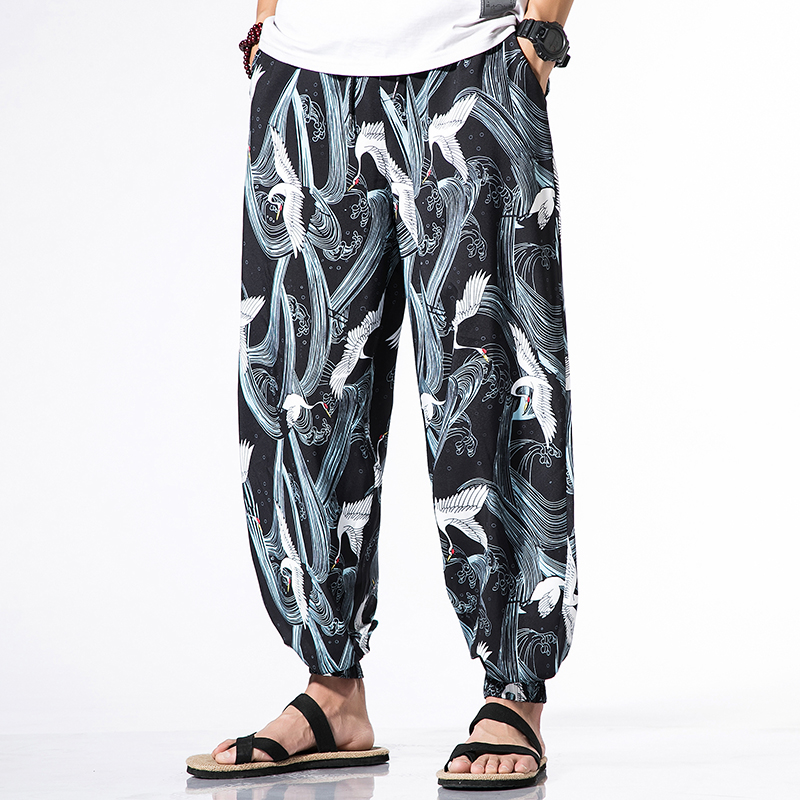 Summer Printed Lantern Pants Jogging Casual Pants Mens Japanese Half Sleeve Kimono Cardigan Thin T-shirt Sun Protection Clothing