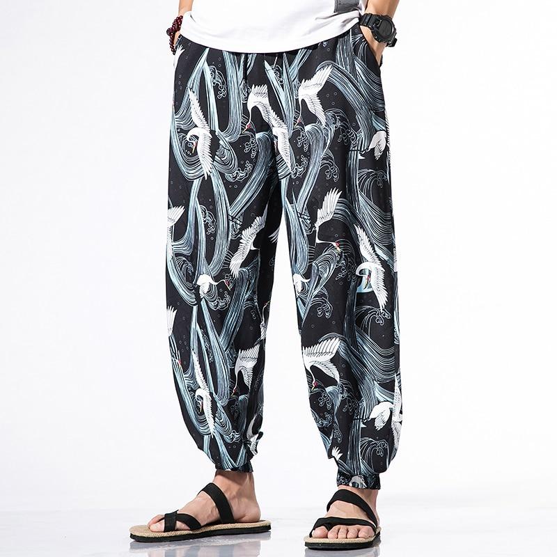 Summer Printed Lantern Pants Jogging Casual Pants Mens Japanese Half Sleeve Kimono Cardigan Thin T-shirt Sun Protection Clothing