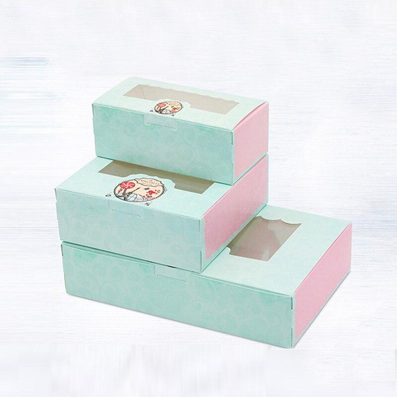 20 pcs Paper box windows wedding kids sweet birthday cake kraft gift paper packaging box for food baking candy cookies supplier
