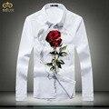 Большой Размер Цветочный Печати Camiseta Masculina 5XL 4XL Slim Fit Brand Clothing Розы Мужские Рубашки Черный Белый Сорочка Homme 2017