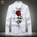 Large Size Floral Print Camiseta Masculina 5XL 4XL Slim Fit Brand Clothing Rose Flower Men Shirts Black White Chemise Homme 2017