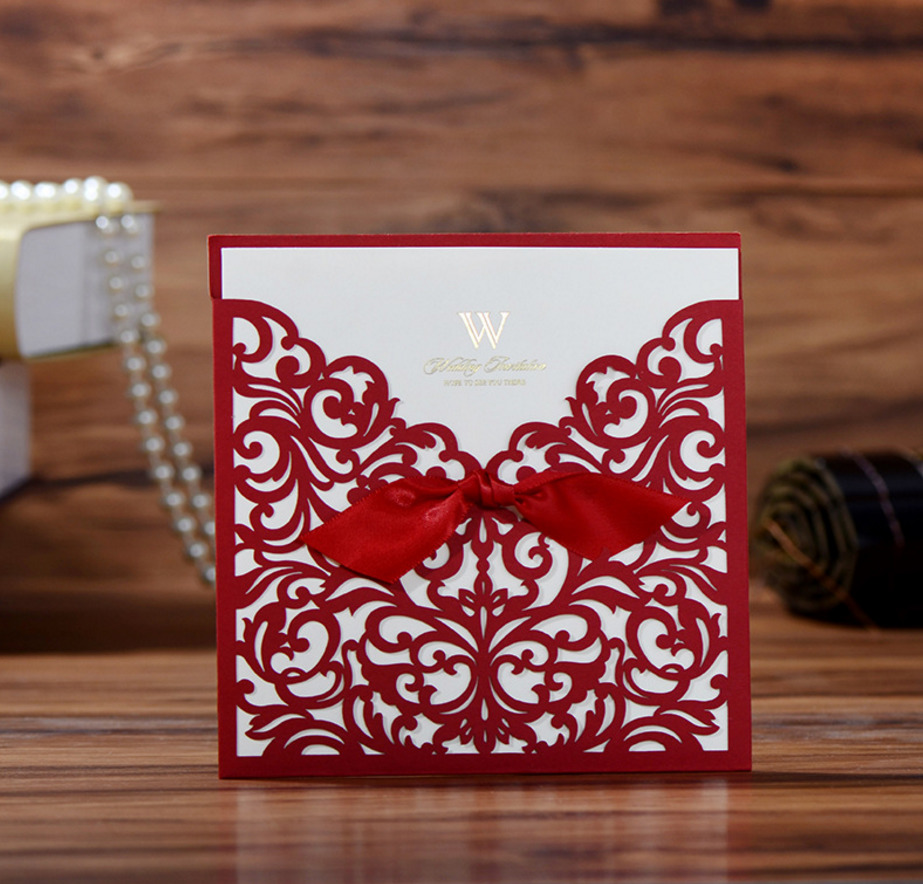 50pcs Wedding Invitations Card Laser Cutting Sweet Chinese Red And ...