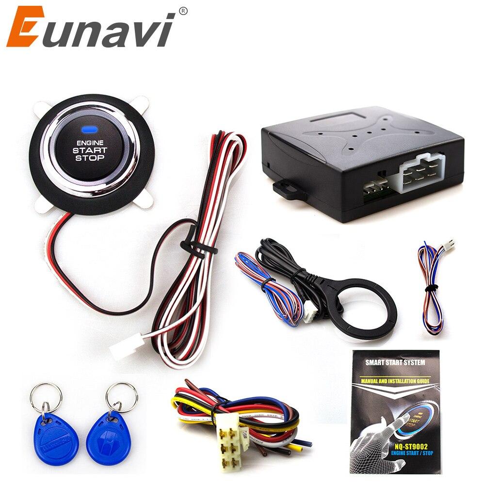 Eunavi RFID Intelligente Système D'alarme De Voiture Poussoir Démarrage Moteur bouton d'arrêt Transpondeur Antidémarrage Keyless Go S'adapte pour 12 V Voitures Carsmate